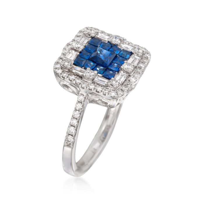 Gregg Ruth .81 ct. t.w. Sapphire and .73 ct. t.w. Diamond Ring in 18kt White Gold