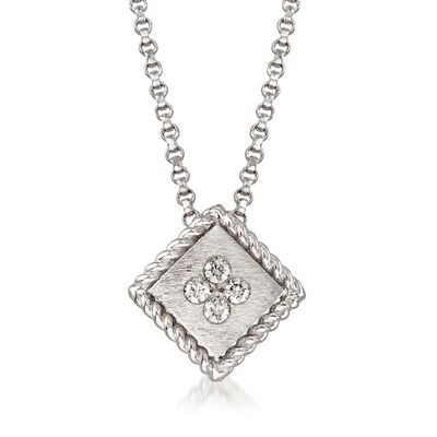 "Roberto Coin ""Palazzo Ducale"" Diamond-Accented Pendant Necklace in 18kt White Gold"