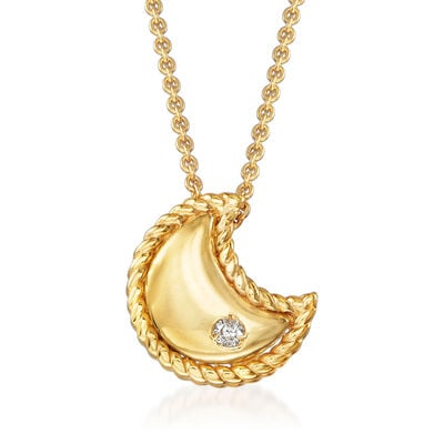 "Phillip Gavriel ""Italian Cable"" Moon Pendant Necklace with Diamond Accent in 14kt Yellow Gold"