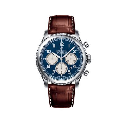 Breitling Navitimer 8 B01 Chronograph Men's 43mm Stainless Steel Watch - Blue Dial and Brown Leather Strap, , default