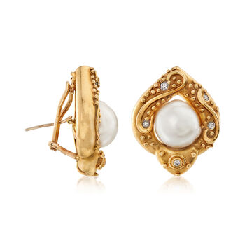 C. 1980 Vintage 13x12mm Cultured Baroque Pearl and .25 ct. t.w. Diamond Earrings in 18kt Yellow Gold, , default