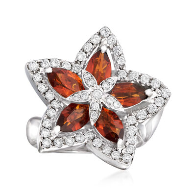 C. 1990 Vintage 2.20 ct. t.w. Citrine and .78 ct. t.w. Diamond Flower Ring in 18kt White Gold