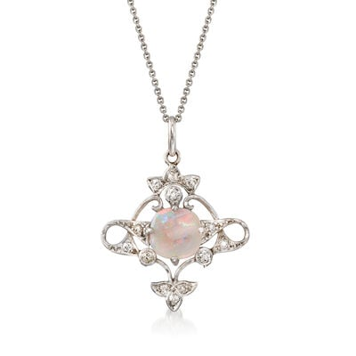 C. 1930 Vintage Australian Opal and .25 ct. t.w. Diamond Pendant Necklace in Platinum and 14kt White Gold