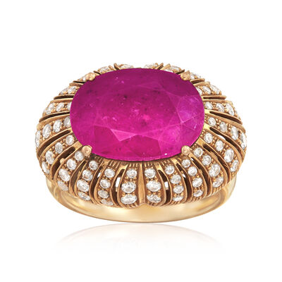 C. 1970 Vintage 7.25 Carat Pink Tourmaline and 1.10 ct. t.w. Diamond Ring in 18kt Yellow Gold, , default