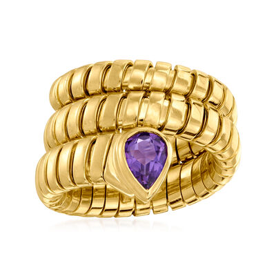 "C. 1980 Vintage Bulgari ""Serpenti Tubogas"" .45 Carat Amethyst Coil Ring in 18kt Yellow Gold"