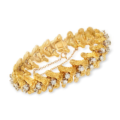 C. 1980 Vintage 4.20 ct. t.w. Diamond Fancy Bracelet in 18kt Yellow Gold, , default
