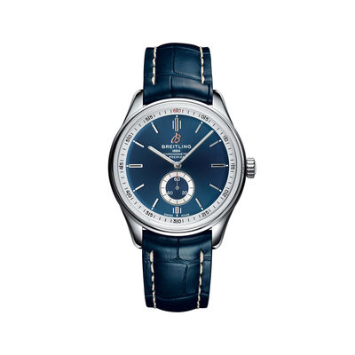 Breitling Premier Automatic Men's 40mm Stainless Steel Watch - Blue Dial and Leather Strap