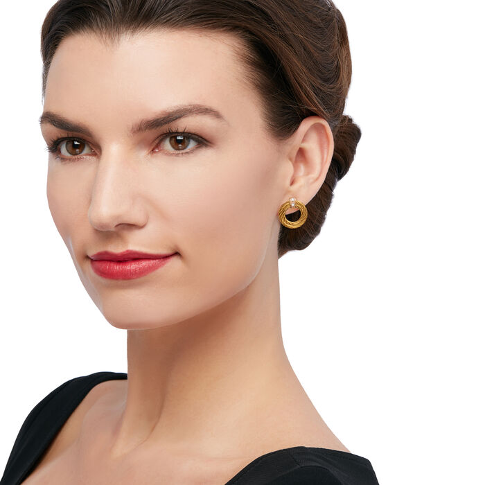"""ALOR """"Classique"""" Yellow Stainless Steel Cable Earrings with Diamond Accents and 18kt Yellow Gold"""