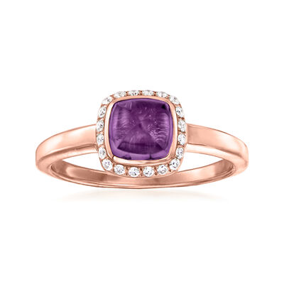 C. 1990 Vintage Fred Amethyst Ring with .15 ct. t.w. Diamonds in 18kt Rose Gold