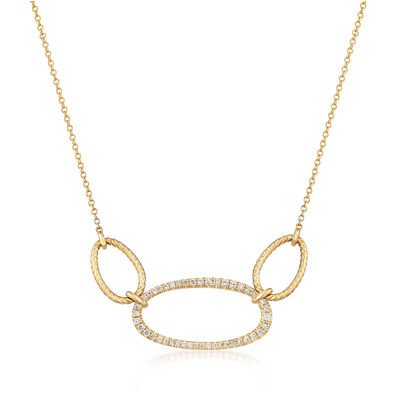 Gabriel Designs .26 ct. t.w. Diamond Triple Oval Necklace in 14kt Yellow Gold, , default