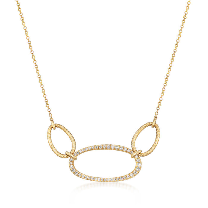 Gabriel Designs .26 ct. t.w. Diamond Triple Oval Necklace in 14kt Yellow Gold
