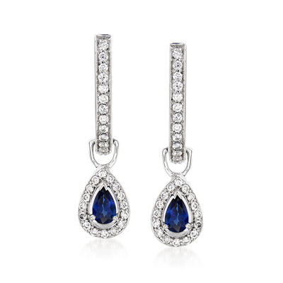 C. 1990 Vintage .40 ct. t.w. Sapphire Drop Earrings with .50 ct. t.w. Diamonds in 14kt White Gold