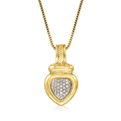 C. 2000 Vintage David Yurman .30 ct. t.w. Diamond Heart Pendant Necklace in 14kt and 18kt Yellow Gold