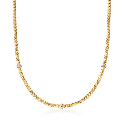 "Phillip Gavriel ""Woven"" Station Necklace with Diamond Accents in 14kt Yellow Gold, , default"