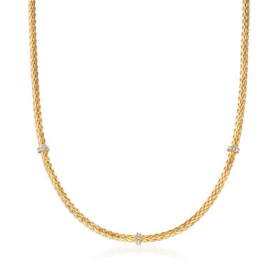 "Phillip Gavriel ""Woven"" Station Necklace with Diamond Accents in 14kt Yellow Gold"