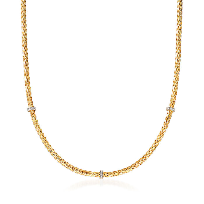 """Phillip Gavriel """"Woven"""" Station Necklace with Diamond Accents in 14kt Yellow Gold"""