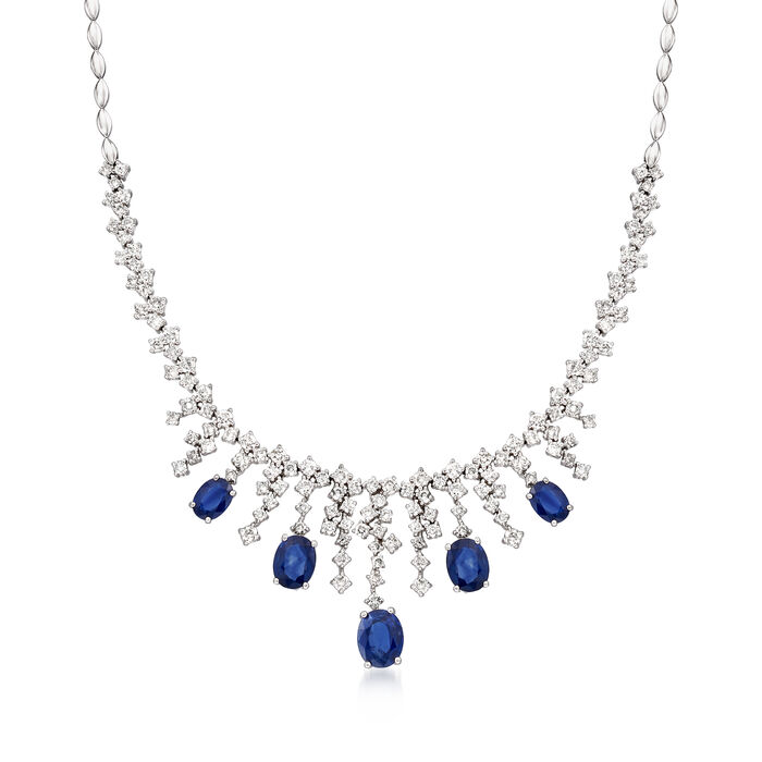 7.20 ct. t.w. Sapphire and 4.25 ct. t.w. Diamond Collar Necklace in 14kt White Gold