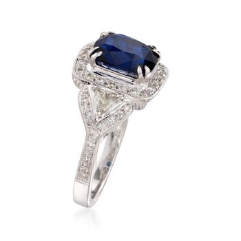 C. 2000 Vintage 3.57 Carat Sapphire and 1.15 ct. t.w. Diamond Ring in 18kt White Gold. Size 6