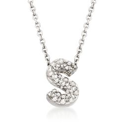 "Roberto Coin ""Tiny Treasures"" Diamond Accent Initial ""S"" Necklace in 18kt White Gold, , default"