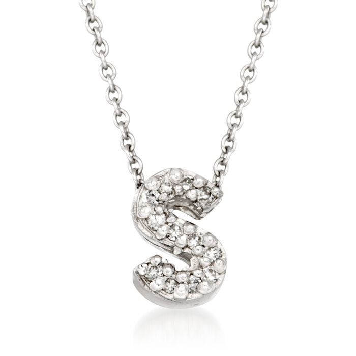 "Roberto Coin Tiny Treasures Diamond S Necklace in 18-Karat White Gold. 16"", , default"
