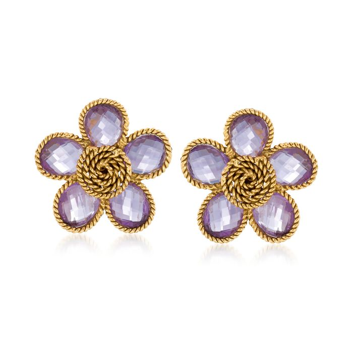 "C. 1970 Vintage 20.00 ct. t.w. Amethyst Flower Earrings in 18kt Yellow Gold. 1"", , default"