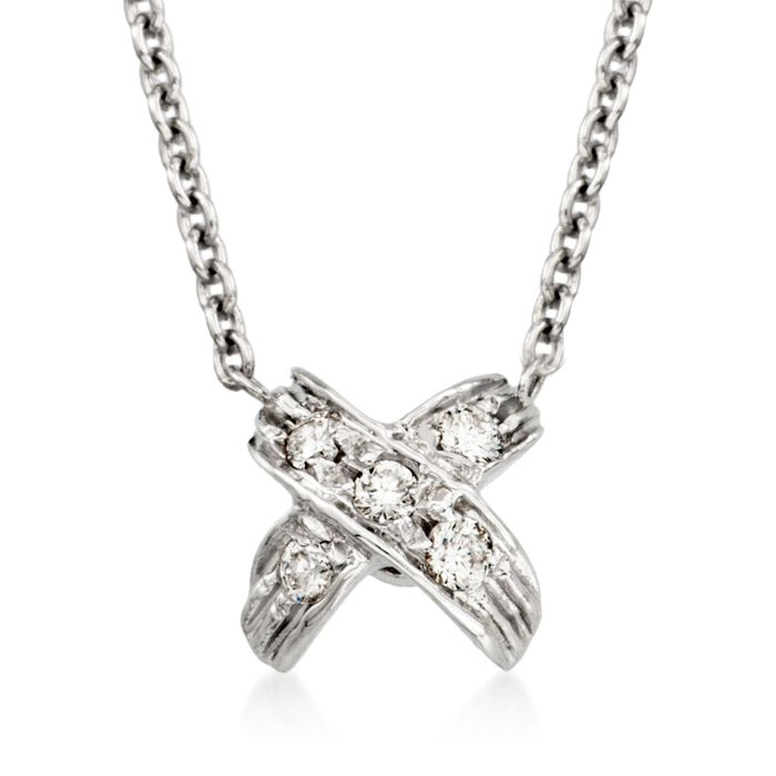 "Roberto Coin Tiny Treasures X Diamond Necklace in 18-Karat White Gold. 16"", , default"