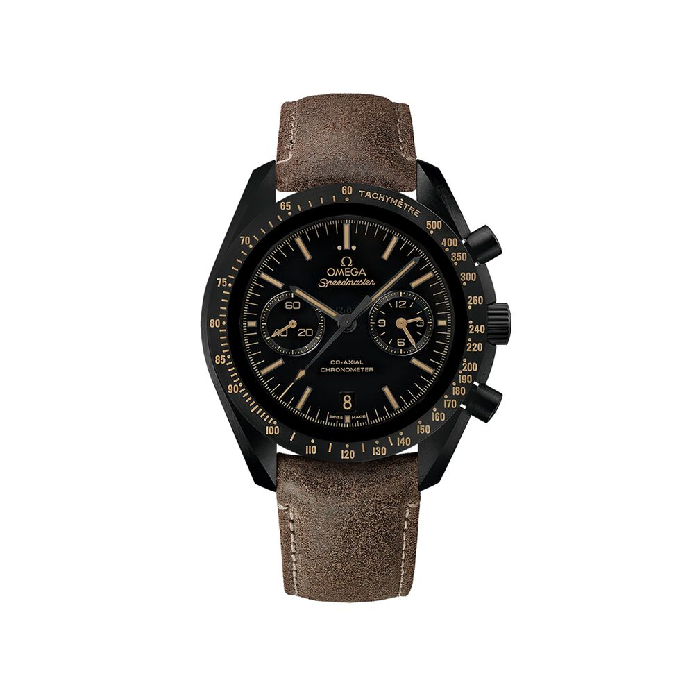 Omega Speedmaster Dark Side Of The Moon 44 25mm Men S Auto Chronograph Black Ceramic Watch With Brown Leather