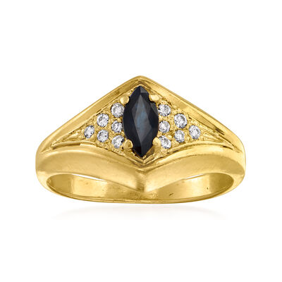 C. 1980 Vintage .30 Carat Sapphire and .12 ct. t.w. Diamond Ring in 14kt Yellow Gold