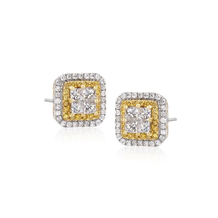 Gregg Ruth 1.11 Carat Total Weight Yellow and White Diamond Studs in 18-Karat White Gold, , default