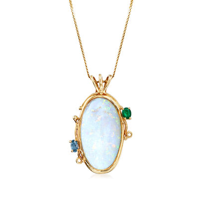 C. 1970 Vintage Opal, .25 Carat Blue Topaz and .20 Carat Emerald Pendant Necklace in 14kt Yellow Gold, , default