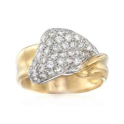 C. 1990 Vintage 1.20 ct. t.w. Pave Diamond Twist Ring in 18kt Yellow Gold, , default