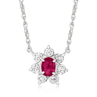 C. 1990 Vintage .37 Carat Ruby and .59 ct. t.w. Diamond Flower Necklace in Platinum
