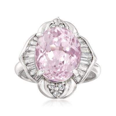 C. 1980 Vintage 6.50 Carat Pink Kunzite and .71 ct. t.w. Diamond Ring in Platinum