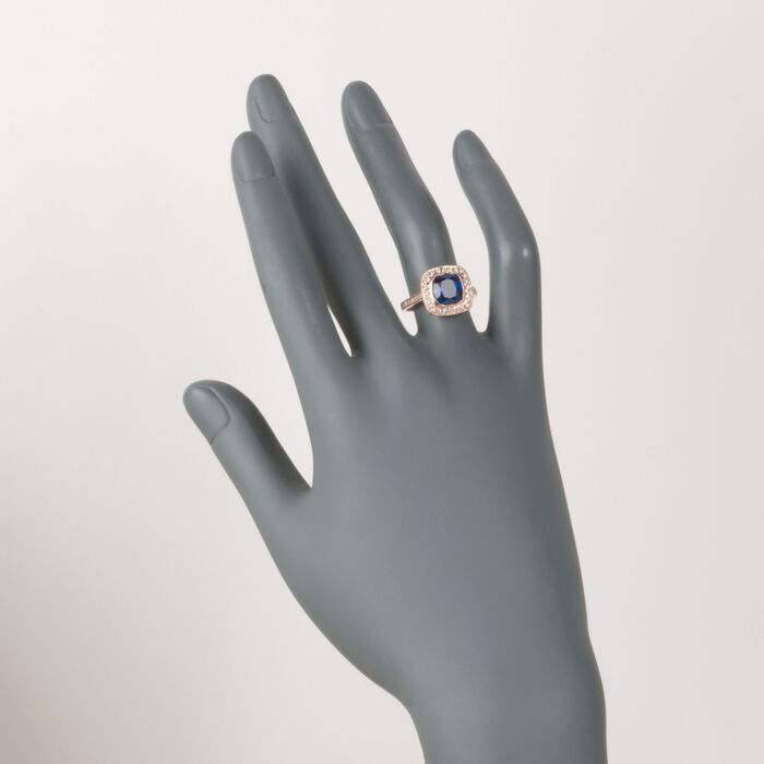 C. 2000 Vintage 3.15 Sapphire and .50 ct. t.w. Diamond Ring in 14kt Rose Gold