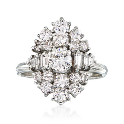 C. 1960 Vintage 1.70 ct. t.w. Diamond Cluster Ring in 18kt White Gold, , default