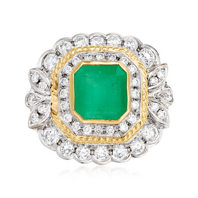 C. 1980 Vintage 3.50 Carat Emerald and 1.50 ct. t.w. Diamond Ring in 18kt Two-Tone Gold
