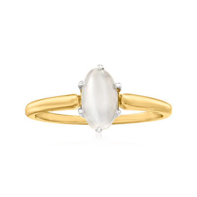 C. 1970 Vintage White Chrysoberyl Ring in 14kt Yellow Gold