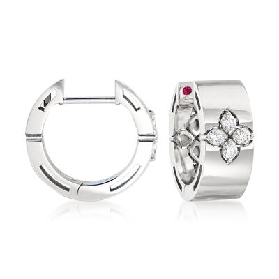 "Roberto Coin ""Love in Verona"" .16 ct. t.w. Diamond Hoop Earrings in 18kt White Gold"