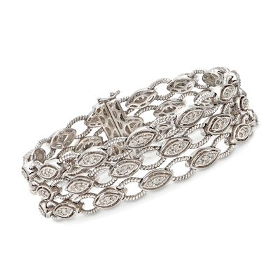 C. 1990 Vintage 1.65 ct. t.w. Diamond Multi-Row Bracelet in 14kt White Gold, , default