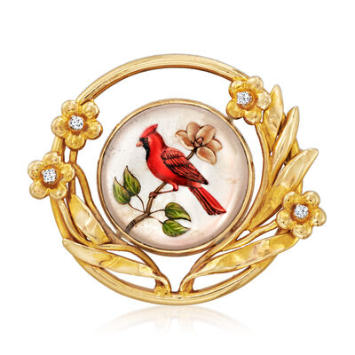C. 1960 Vintage Mother-Of-Pearl Painted Cardinal Pin/Pendant with Diamond Accents in 14kt Yellow Gold