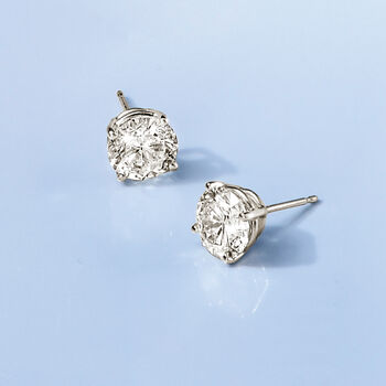3.00 Carat Total Weight Diamond Studs in 14-Karat White Gold, , default