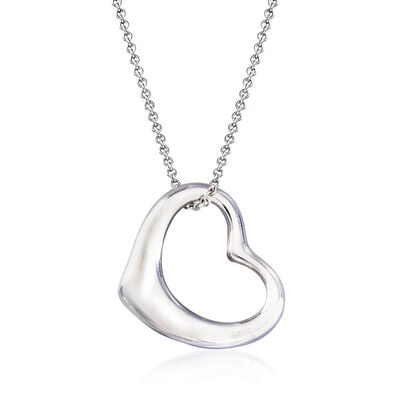 "C. 1990 Vintage Tiffany Jewelry ""Elsa Peretti"" Sterling Silver Heart Pendant Necklace, , default"