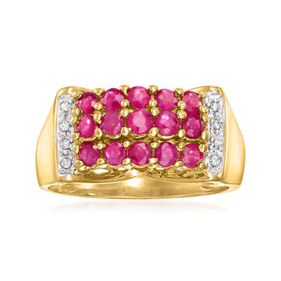 C. 1970 Vintage 1.35 ct. t.w. Ruby Ring with Diamond Accents in 14kt Yellow Gold