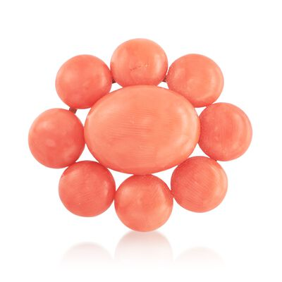 C. 1940 Vintage Coral Bead Pin in 14kt Yellow Gold, , default