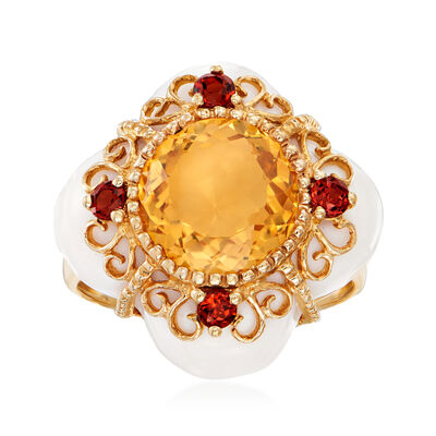 C. 2000 Vintage White Agate, 1.20 Carat Citrine and .25 ct. t.w. Garnet Ring in 14kt Yellow Gold