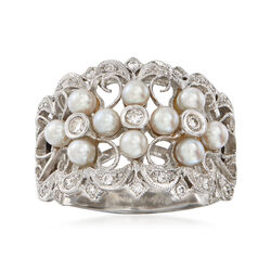C. 1990 Vintage 3mm Cultured Pearl and .25 ct. t.w. Diamond Ring in 18kt White Gold, , default