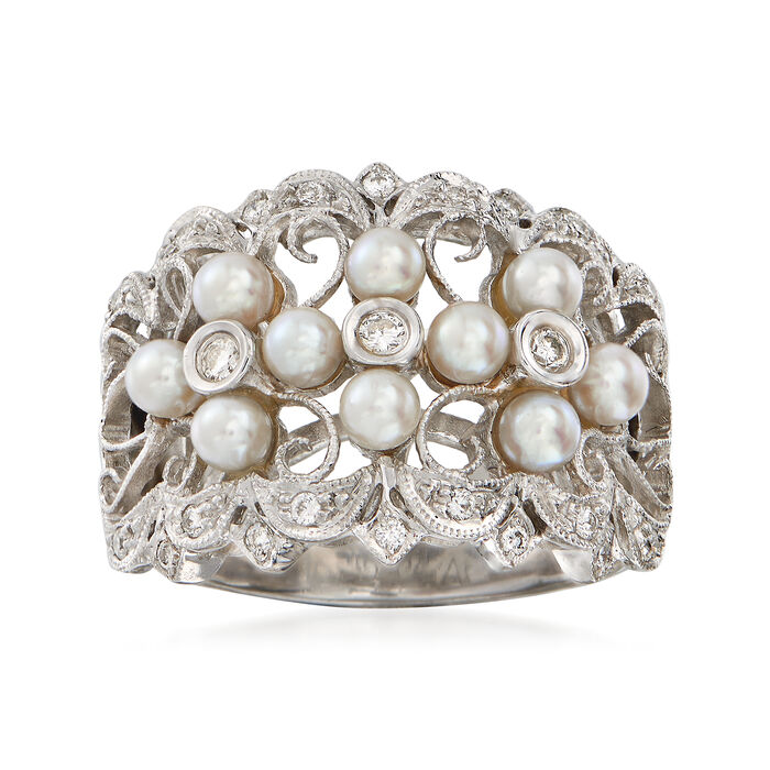 C. 1990 Vintage 3mm Cultured Pearl and .25 ct. t.w. Diamond Ring in 18kt White Gold. Size 6.5, , default