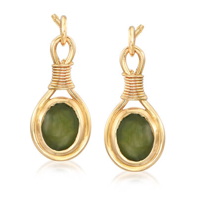 C. 1980 Vintage Nephrite Drop Earrings in 14kt Yellow Gold, , default