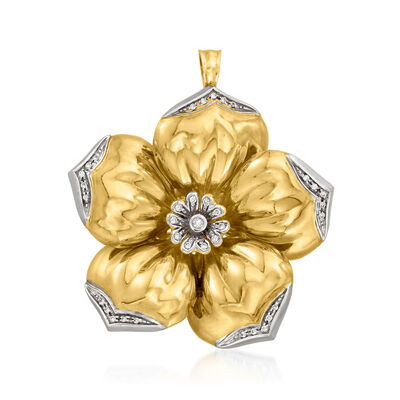 C. 1980 Vintage .30 ct. t.w. Diamond Flower Pin/Pendant in 18kt Yellow Gold