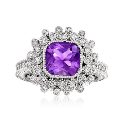 C. 1990 Vintage 1.35 Carat Amethyst and .65 ct. t.w. Diamond Cluster Halo Ring in 14kt White Gold